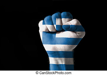 Fist painted in colors of greece flag