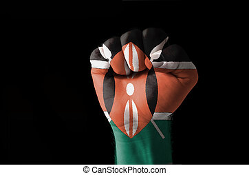Fist painted in colors of kenya flag - Low key picture of a...