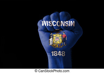 Fist painted in colors of us state of wisconsin flag