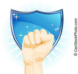 Fist Power Shield isolated on a white background.