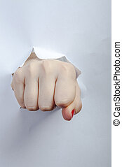 An image of fist punch through paper
