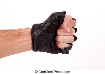 Fist, punch coming out from side with sport glove, isolated on white background.