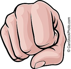 Fist Punch Knuckles Hand - A cartoon hand in a fist punching...