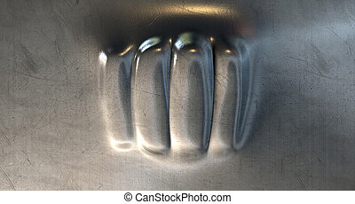 Fist Punched Metal - A flat sheet of metal thats been...