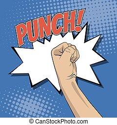 Fist punching in pop art style