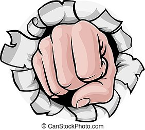 Fist Punching Knuckles Through Background
