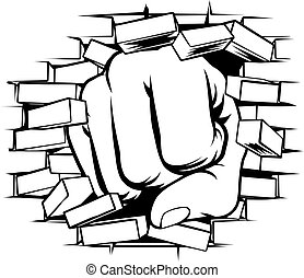 Fist Punching Through Brick Wall