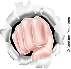 Fist Punching Through White Background