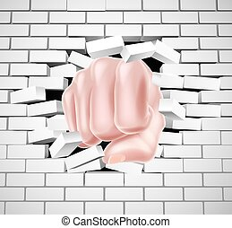 Fist Punching Through White Brick Wall - Hand in fist...