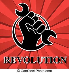 Fist revolution symbol with wrench