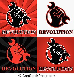Fist revolution symbols with wrench