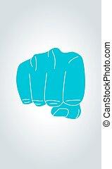 Fist sign hand gesture.