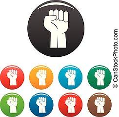 Fist up icons set color