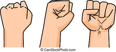 fist, van, menselijk, vector