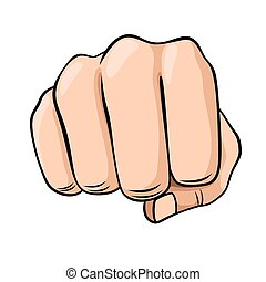 Fist - Draw a fist isolated on white background