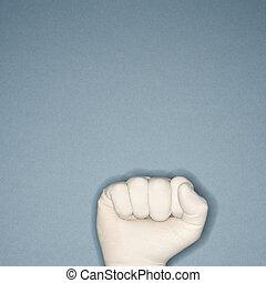 Fist wearing rubber glove.