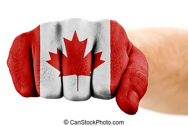 fist with canadian flag isolated on white