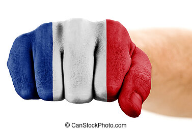 fist with french flag isolated on white
