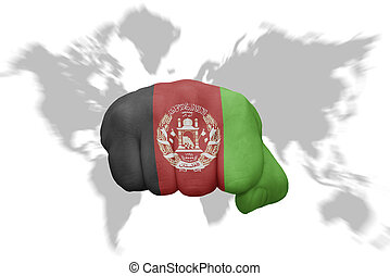 fist with the national flag of afghanistan on a world map background