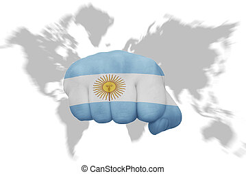 fist with the national flag of argentina on a world map background