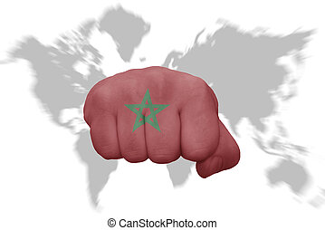Morocco on world map old political map of world with flag fist with the national flag of morocco on a world map background gumiabroncs Image collections