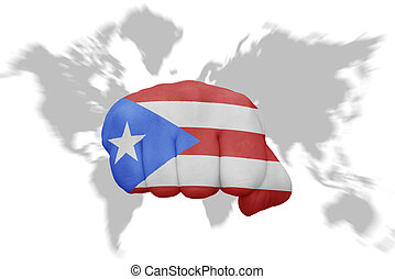 Puerto rico small flag on a map background. Small flag of puerto ...