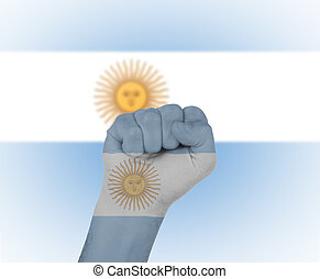 Fist wrapped in the flag of Argentina
