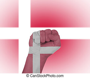 Fist wrapped in the flag of Denmark