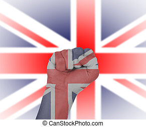 Fist wrapped in the flag of England