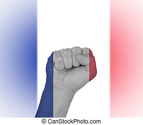 Fist wrapped in the flag of France