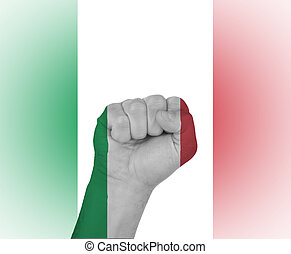 Fist wrapped in the flag of Italy