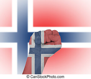 Fist wrapped in the flag of Norway