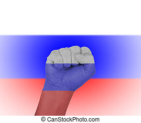 Fist wrapped in the flag of Russia