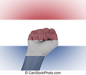 Fist wrapped in the flag of the Netherlands