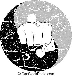 Fist Yin Yang - Fist in the center of the eastern symbol of...