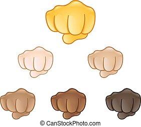 fisted, znak, ręka, emoji