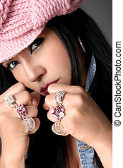 Fistful of Bejewelled rings - Tomboy with bling. Focus is...