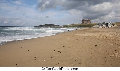 Fistral beach Newquay Cornwall uk - Waves on Fistral beach ...