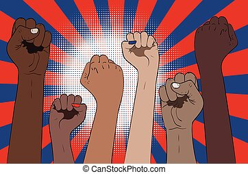 Fists raised up banner - Protest concept banner, raised up ...