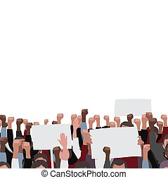 Fists raised vector pattern with banners. Public protest illustration