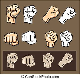 Fists - vector set. Stock illustration.