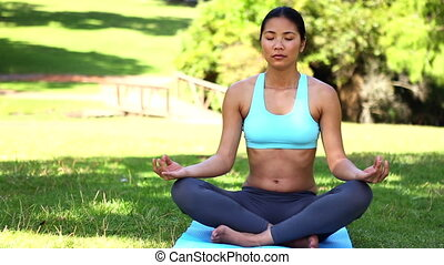 Fit asian girl doing yoga in the p