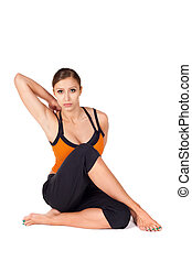 Fit Attractive Woman Practicing Yoga Stretching Asana - ...