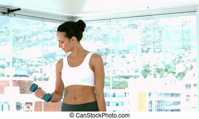 Fit brunette lifting hand weights i