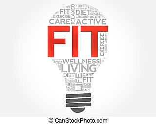 Fit bulb word cloud