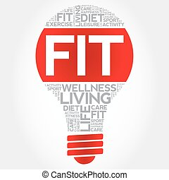 Fit bulb word cloud, health concept