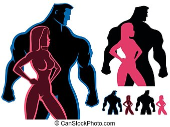 Fit Couple - Fit couple silhouettes in 4 versions. No...
