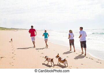 fit family on beach