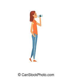 Fit Girl Drinking Fresh Clean Water from Plastic Bottle Vector Illustration