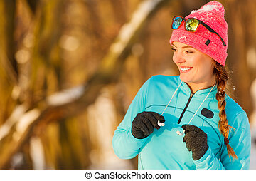Fit girl in winter park